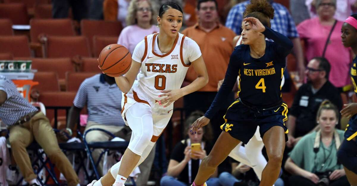 Texas Longhorns guard Celeste Taylor (0) drives past West Virginia Mountaineers guard Lucky Rudd (4) during Big XII game on February 17, 2020, at the Frank Erwin Center in Austin, TX. (Photo by John Rivera/Icon Sportswire via Getty Images)