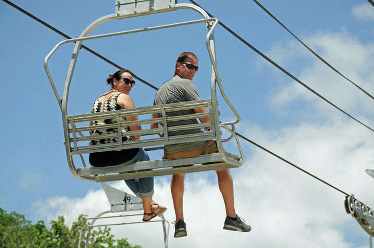 The Grafton SkyTour offers rides on a ski lift-like aerial line while being transported across different parts of Grafton. The SkyTour offers views of the Illinois and Mississippi rivers and an especially beautiful view during sunset. (File photo)