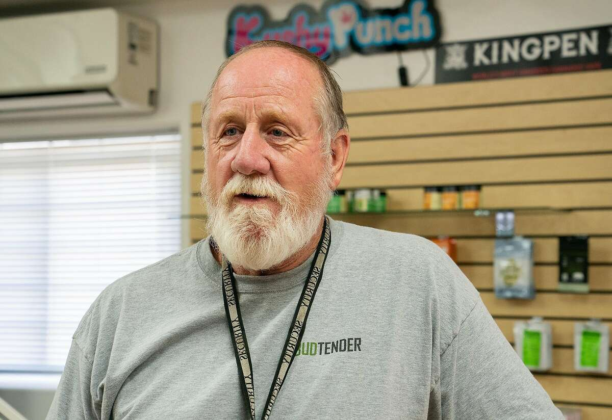 Patric McCue of the Redwood Coast Dispensary talks about encountering the murder suspect Steven Carrillo outside Redwood Coast Dispensary as he attempted to carjack a car to escape authorities on Sunday, June 7, 2020 in Ben Lomond, Calif. Carrillo is suspected of killing Santa Cruz County Sheriff's deputy Damon Gutzwiller.