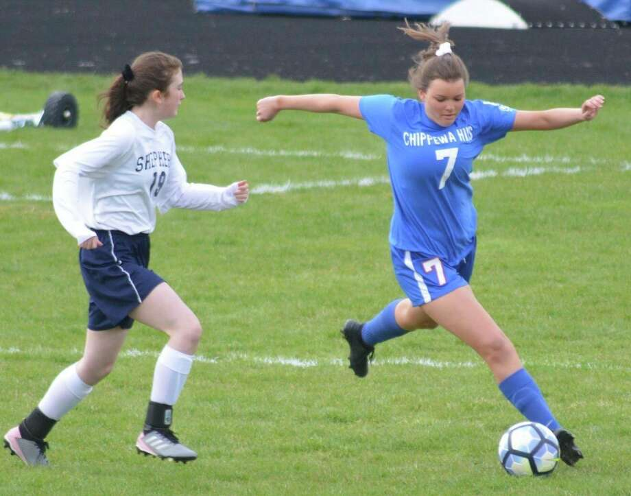 Chippewa Hills Raychel Nielsen (7) plays the ball during action in a previous season. (Courtesy photo)