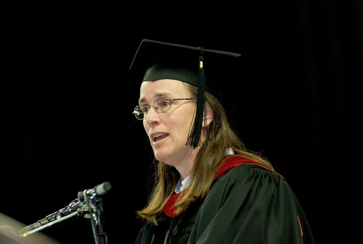 The Rev. Cass Shaw, Council of Churches of Greater Bridgeport, delivers the commencement address during Housatonic Community College's 47th commencement at Webster Bank Arena in Bridgeport on May 29, 2014.