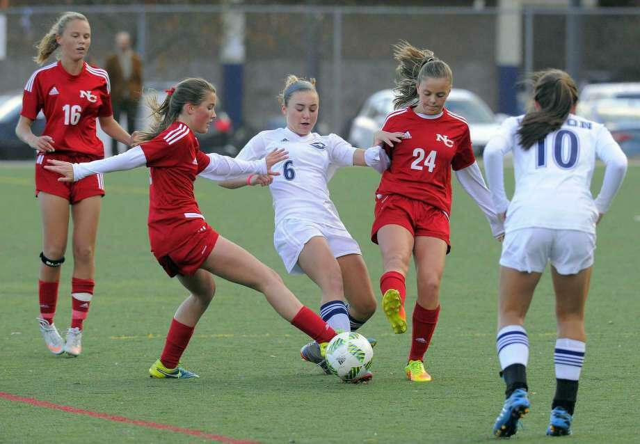 Scene from FCIAC girls soccer game at Kristine Lilly Field in Wilton, Conn. on Tuesday, Oct. 25, 2016. Photo: Matthew Brown /Hearst Connecticut Media