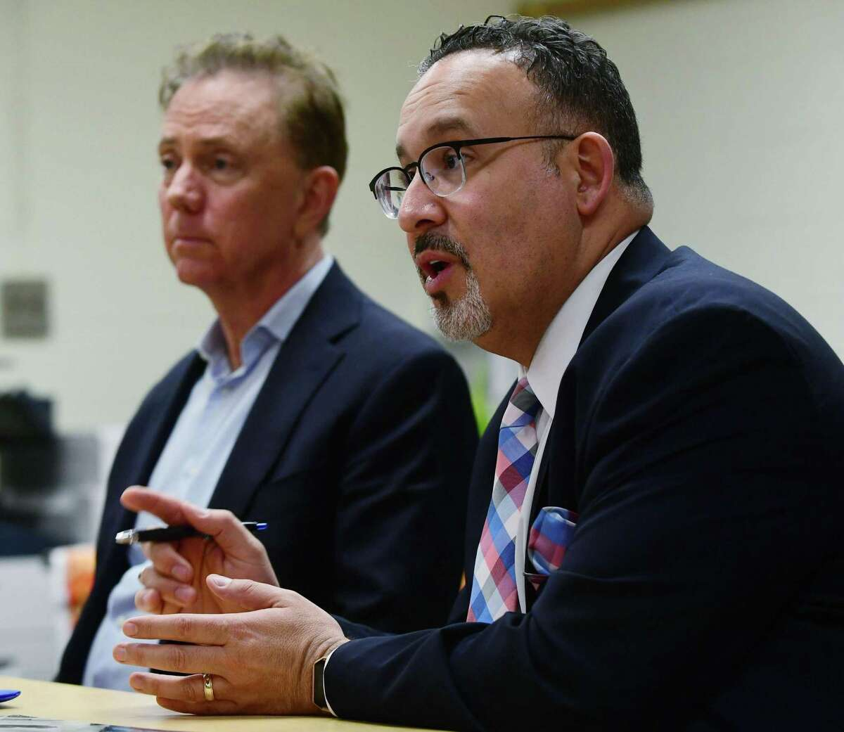 Education State Department of Education Commissioner Miguel Cardona and Gov. Ned Lamont listen to a presentation on the dual language curriculum as they visit Silvermine Dual Language Magnet School in Norwalk on Feb. 28.