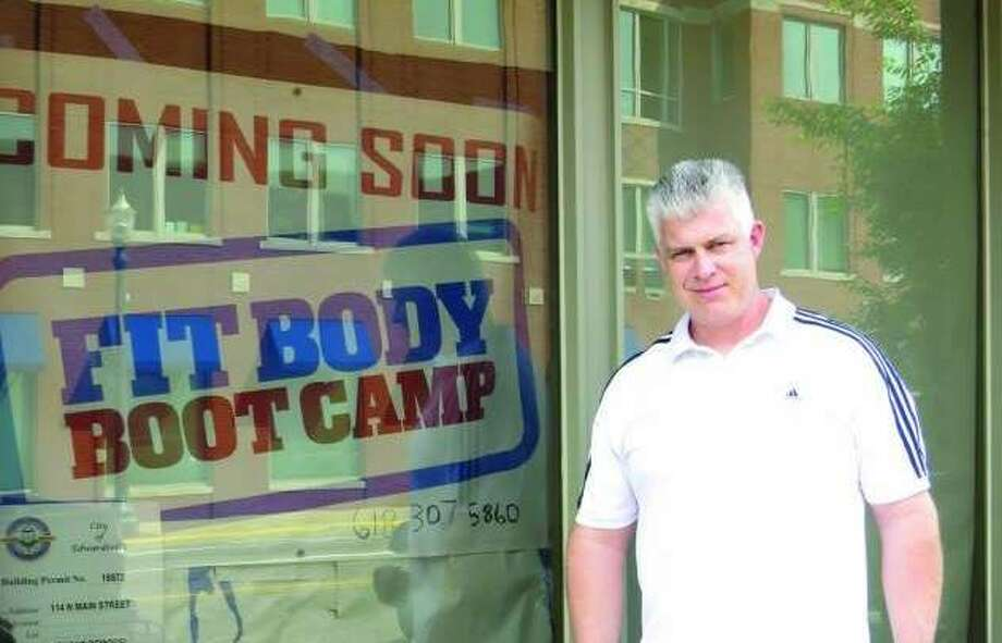 Coach Travis Akin outside of Fit Body Boot Camp in 2017 when the gym opened. Photo: Intelligencer File Photo