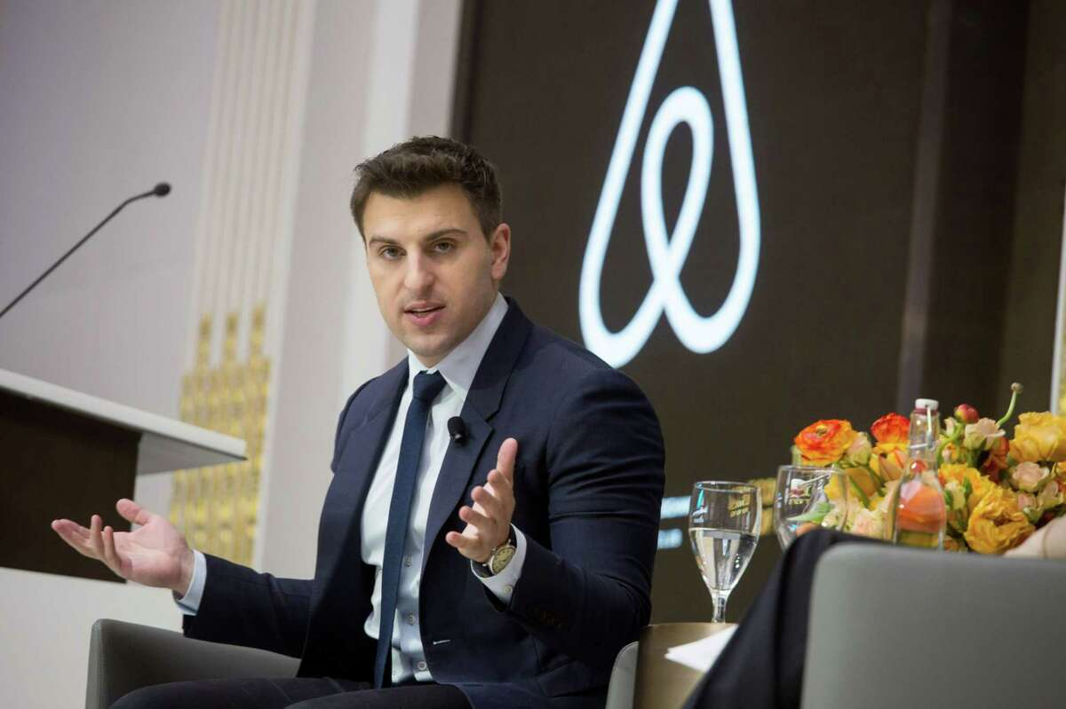 Brian Chesky, chief executive officer and co-founder of Airbnb Inc., speaks during an Economic Club of New York luncheon at the New York Stock Exchange in New York on March 13, 2017.