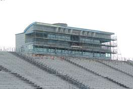 An explanded press box at Pearland Stadium is expected to be finished in July.