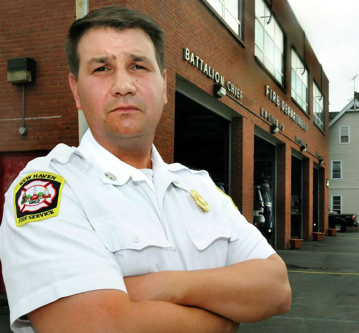 Then Lt. Frank Ricci outside the fire station on Lombard Ave. New Haven firefighters won a 2 million dollar settlement against the city.