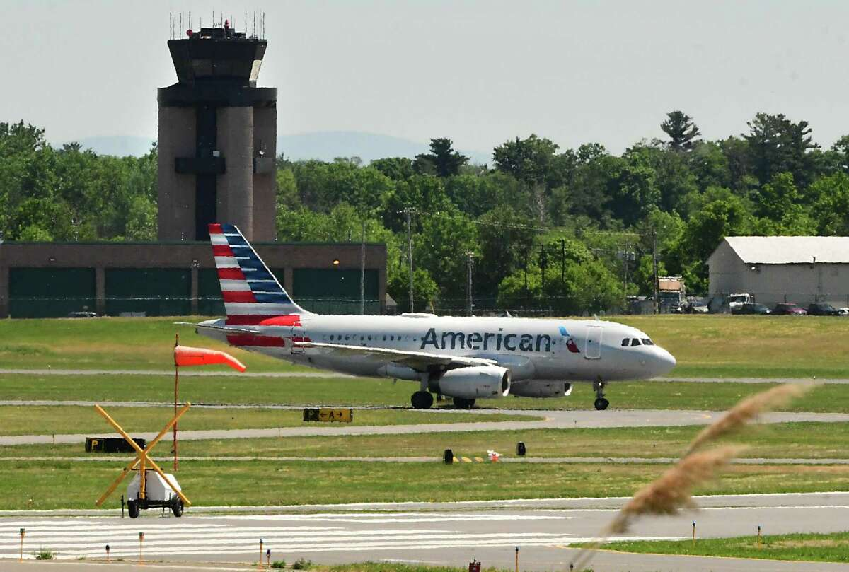 An American Airlines plane is seen taxiing on the runway at the Albany International Airport on June 8, 2020 in Colonie, N.Y. (Lori Van Buren/Times Union)