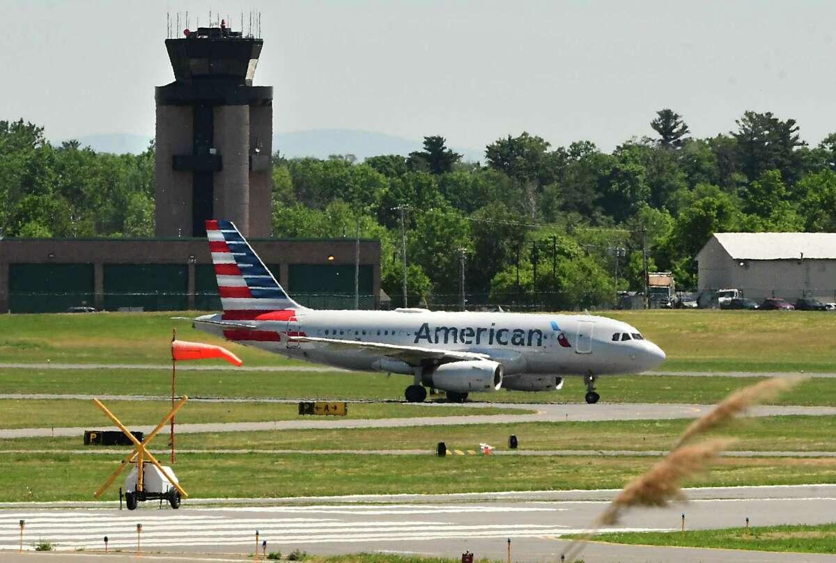 An American Airlines plane is seen taxiing on the runway at the Albany International Airport on June 8, 2020 in Colonie, N.Y. (Lori Van Buren/Times Union)