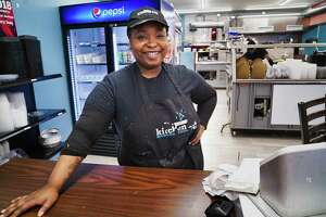 Emrys Young, owner of Kitchen 216, poses for a photo at her restaurant on Tuesday, June 11, 2019, in Albany, N.Y.   (Paul Buckowski/Times Union)
