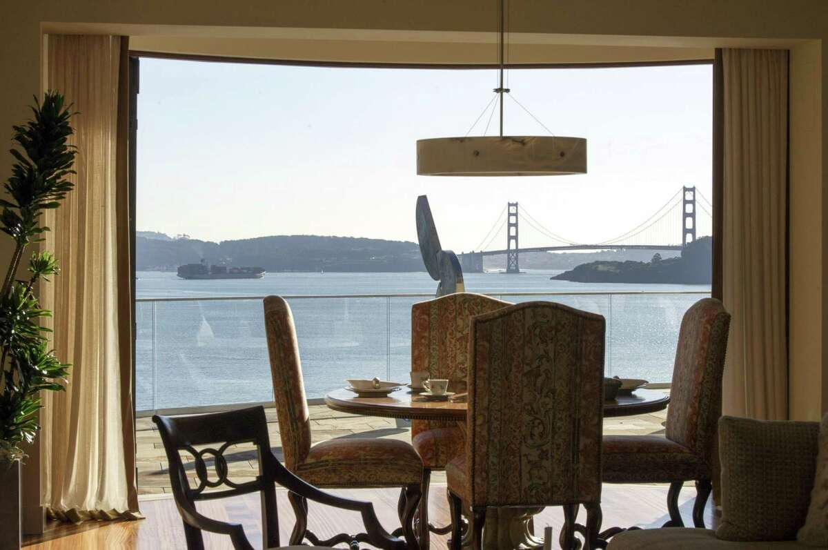 The Golden Gate Bridge is seen from the dining room of a 15,000 square-foot custom built home on Belvedere Island in Marin County, Calif., on Dec. 19, 2012.