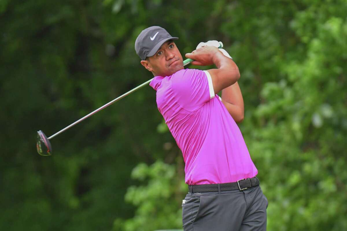 Tony Finau hits a tee shot during the opening round of the 2019 Travelers Golf Championship on June 20, 2019 at the TPC River Highlands, in Cromwell.