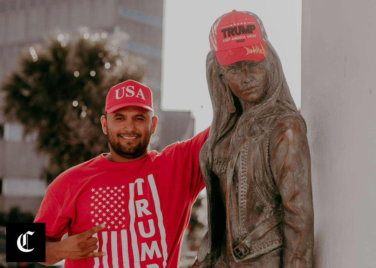 Trump supporter Joe Michael Perez posed for a photo and put a Trump hat on the 'Mirador de la Flor' Selena sculpture in Corpus Christi. It has many people upset online.