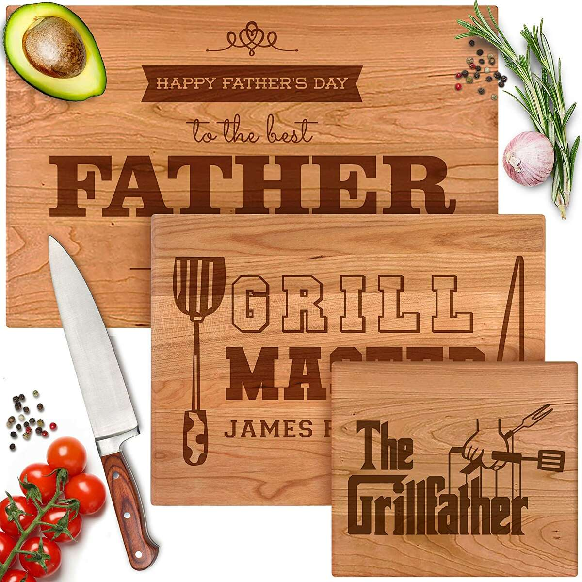 For $29.99, you can personalize a cutting board on Amazon for your favorite grill master.