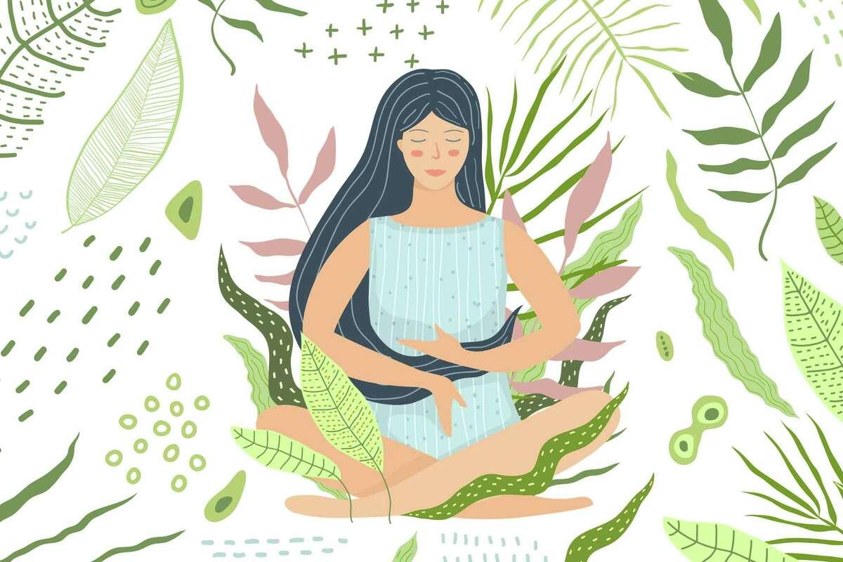 Peaceful mind and calmness. Yoga and meditation flat illustration.