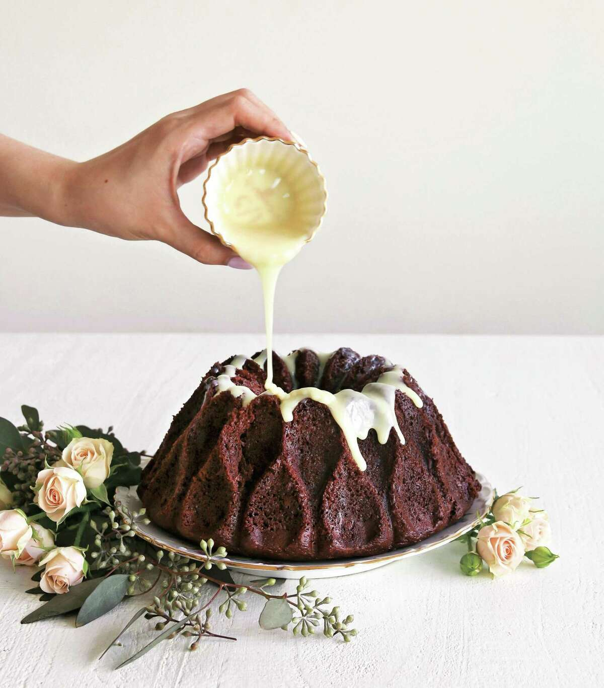 Chocolate Bundt Cake with Orange Blossom Ganache (recipe in column): The flavor of chocolate is deep enough to hold its own against the floral notes of the orange blossom water.