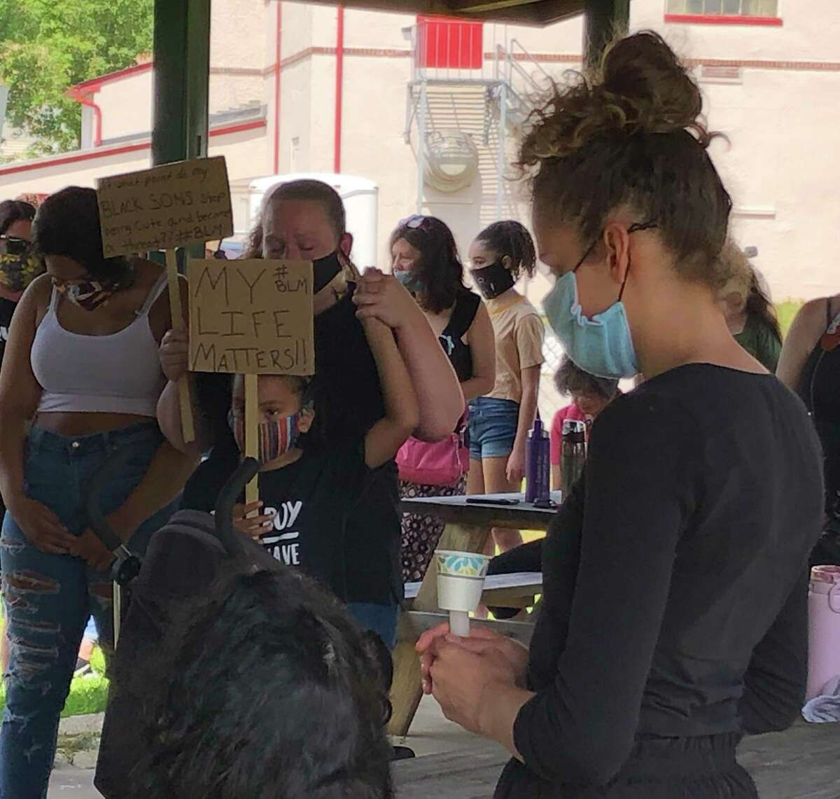 Protesters at a rally in Plainfield gather Saturday near the town hall.
