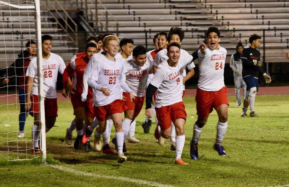 The Bellaire boys soccer team repeated as District 18-6A champions during a 14-6-1 season, also leading the league with three all-district awards. Photo: Bellaire High School