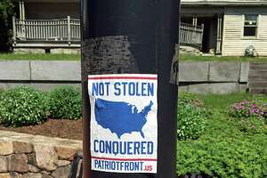 Stickers linked to a white nationalist group such as this one were removed from Sandy Hook light posts over the weekend and reported to police.