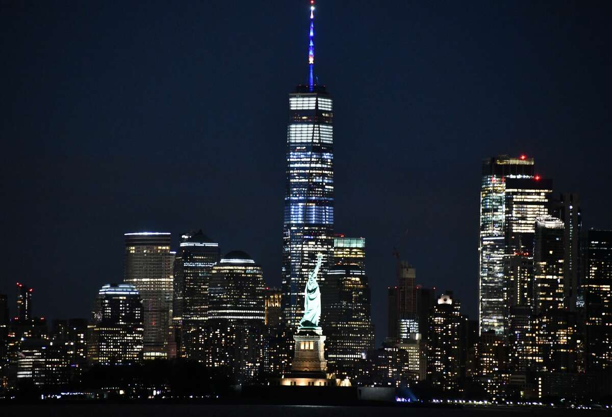 Landmarks across New York lit up blue and gold on Sunday, June 7 to honor the efforts of New Yorkers to flattern the curve and stop the spread of the coronavirus.