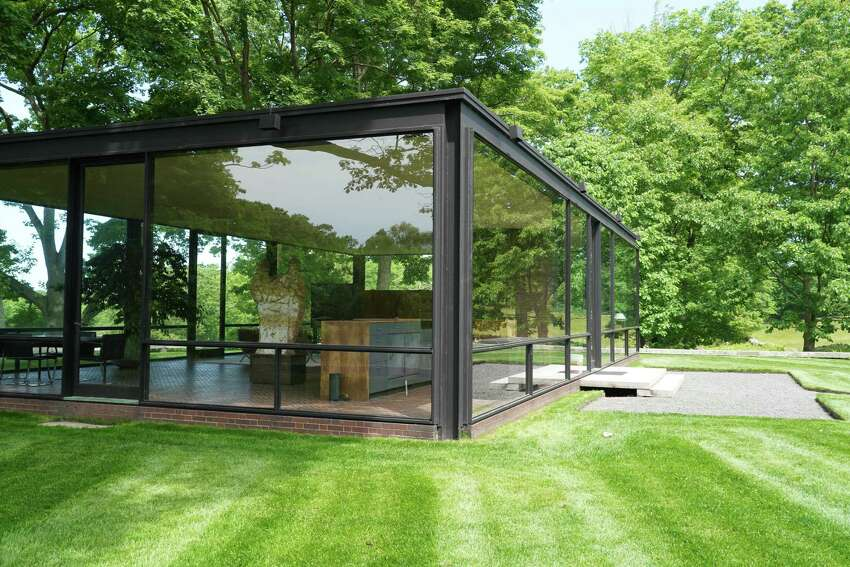 The Glass House in New Canaan is open as an outdoor-only experience. While the estate's buildings remain closed for now, visitors can enjoy the 49-acre pastoral landscape. Just don't forget your mask. Small groups are limited to no more than five members of a family or household. The Philip Johnson Glass House, built by architect Philip Johnson, is a National Trust Historic Site. It was an important project for Johnson and for modern architecture. The building is an example of minimal structure, geometry and the effects of transparency and reflection. Johnson put great emphasis on the land, referring to it as his