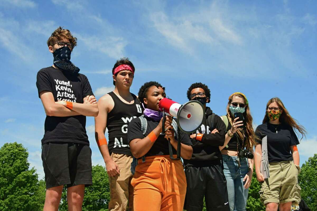 Shenendehowa High School senior Samantha Ivey speaks before students and others take part in a Black Lives Matter march from Clifton Common to the State Police barracks and back on Monday, June 8, 2020 in Clifton Park, N.Y. (Lori Van Buren/Times Union)