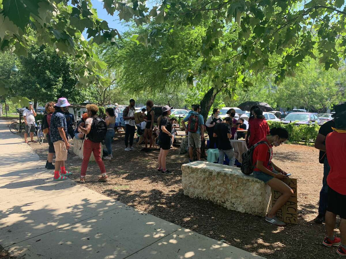 People gathered at Blue Star Arts Complex on Monday, June 8, 2020 waiting the start of the official daily protest to call for law enforcement reform and to remember George Floyd.
