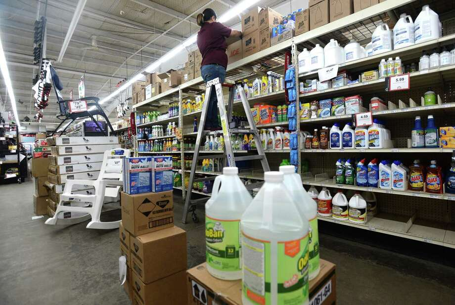M & D Supply store in Beaumont is still in virus mode, with masks and cleaners remaining among its top sellers, in addition to seasonal items. As hurricane season nears, with forecasters already warning of an early system forming in the Gulf, attention could quickly reshift to storm preparedness, with in-store displays featuring items for emergency kits, home repairs and clean-up. Photo: Kim Brent / The Enterprise / BEN