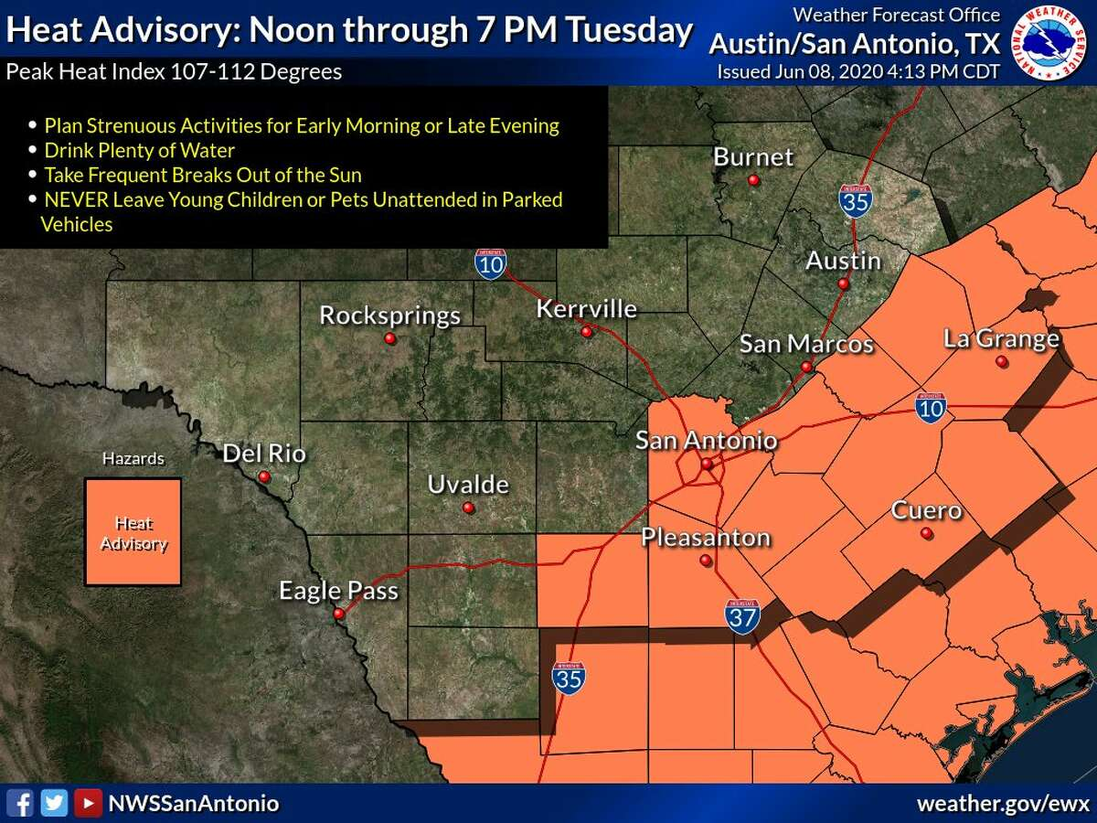 The NWS issued a heat advisory for Tuesday afternoon between noon and 7 p.m.