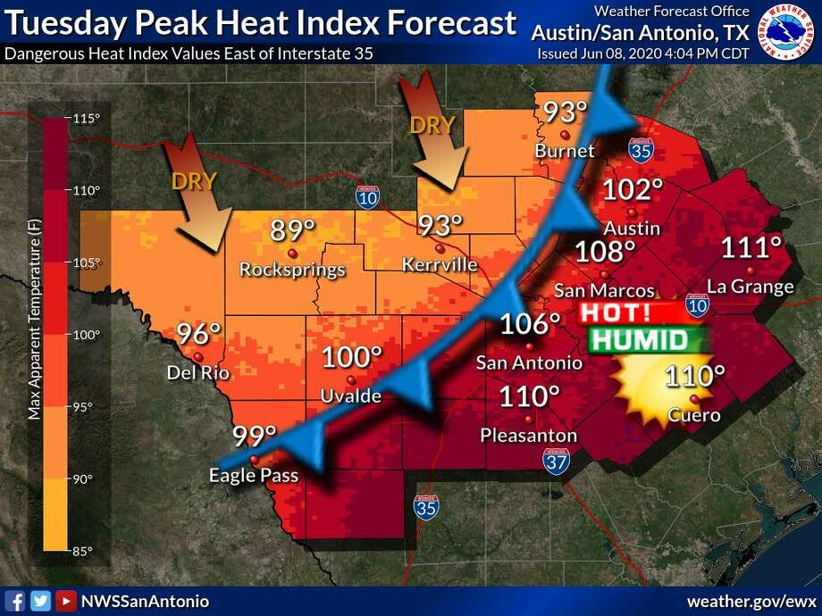 The NWS issued a heat advisory for Tuesday afternoon between noon and 7 p.m. Photo: National Weather Service