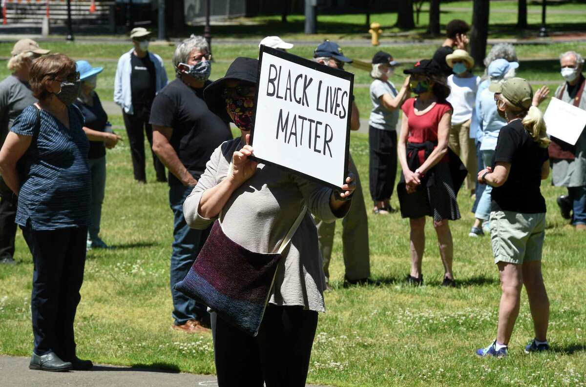 An elder protest to support black lives, oppose police brutality and support institutional change was held on the New Haven Green on June 8, 2020.