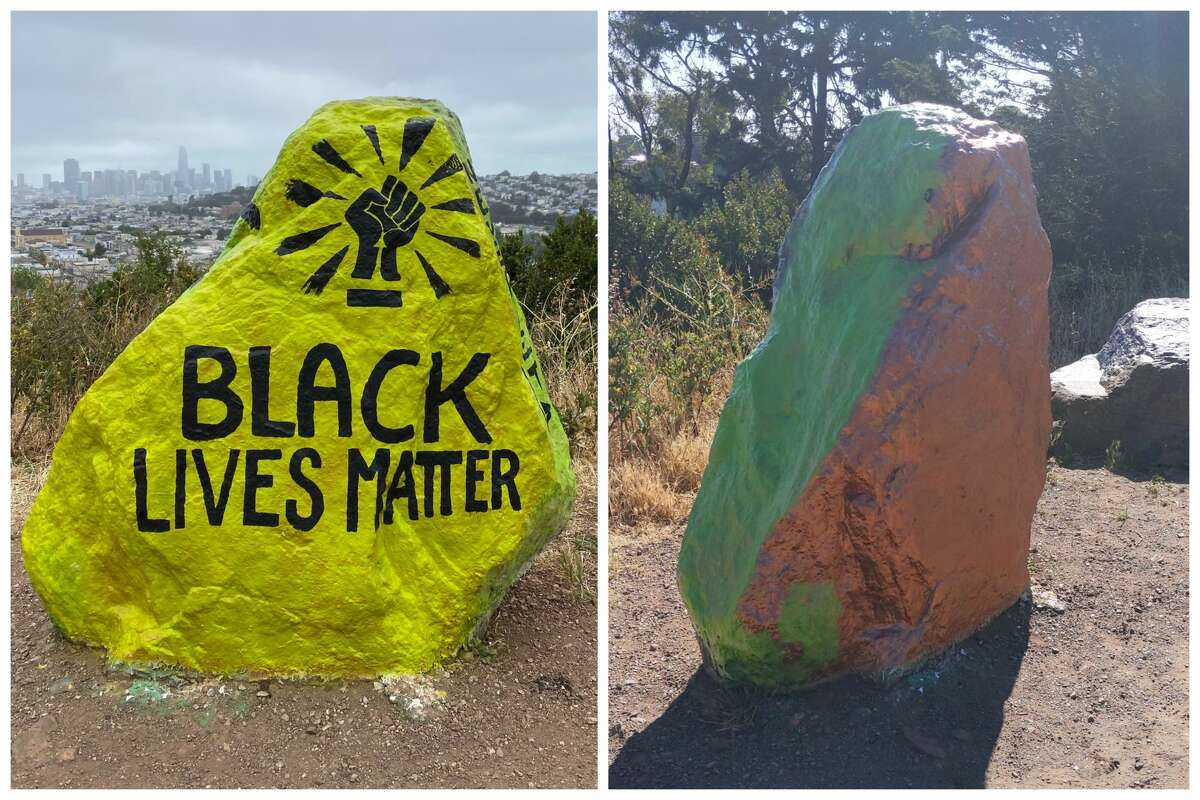 This has now happened a total of five days in a row: Someone paints over the rock in the night, and during the day, Makarova and other artists repaint it with a Black Lives Matter message. Neighbors have rallied around the efforts to keep this message on the rock, even setting up shifts to watch over it on Sunday night.  Rocky Smith, a Bernal Heights resident who took a shift very early Monday morning to watch the rock, said he caught the person in the act.