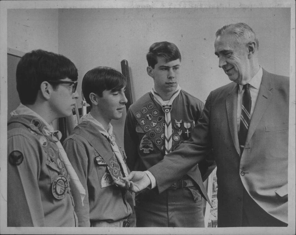 In April 1968, Gen. C.V.R. Schuyler talks with scouts at Eagle Scout Career Day in Albany. The scouts are: Eric R. Cahill, Troop 99, Latham; Frederick Moore, Troop 75, Delmar, and Thomas R. Keays, Jr., Troop 36, Albany. (Bob Wilder/Times Union Archive)