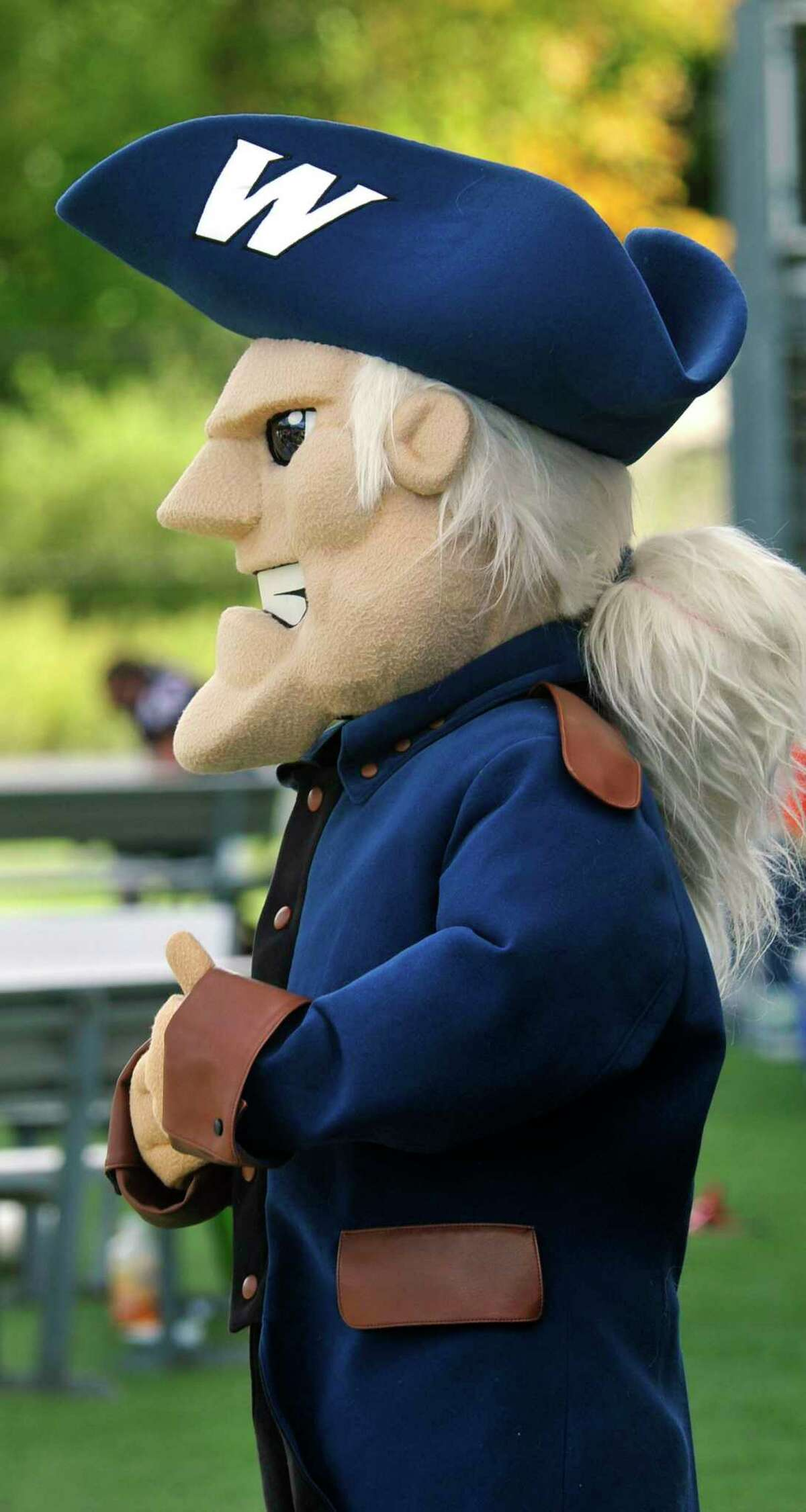 Colonial Chuck, the mascot of Western Connecticut State University.