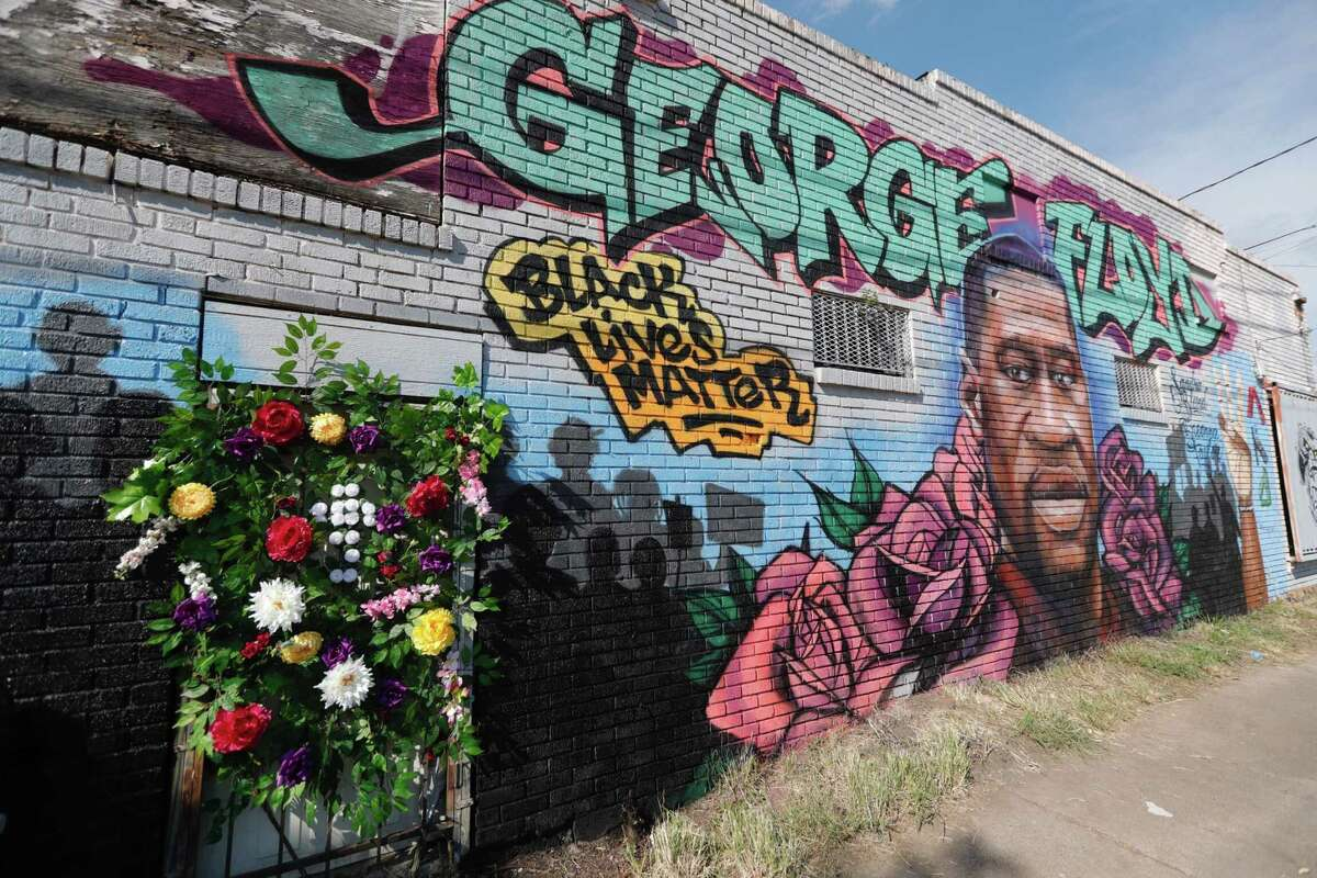 A mural in honor of George Floyd is seen near the intersection of Elgin Street and Ennis Street, Monday, June 8, 2020, in Houston.