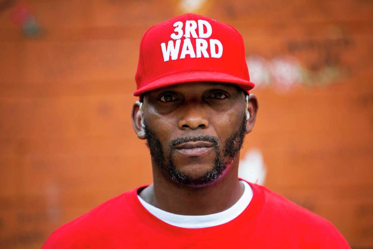Willie Earnest Purnell proudly wears a hat of the Third Ward where he is a resident. Purnell visited the mural in Third Ward that honors George Floyd on Monday, June 8, 2020, in Houston.