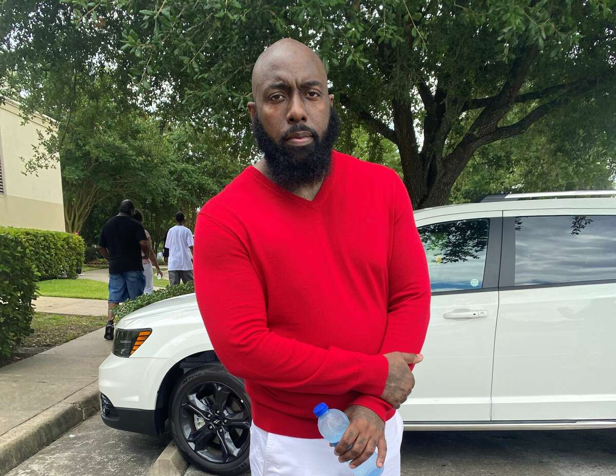 Trae Tha Truth at George Floyd public viewing on June 8. 2020.