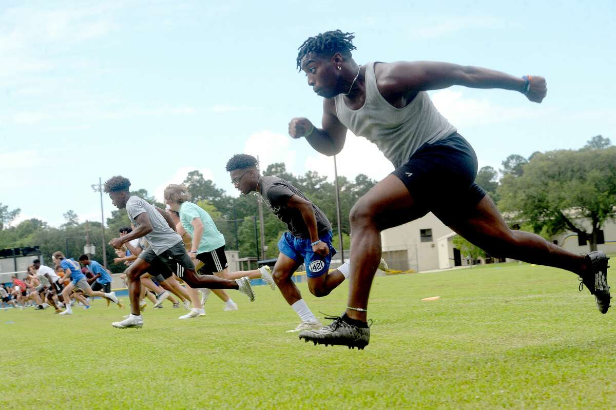 Dajuan Espree joins in sprints as Kelly High School's football team gets in its first practice of the 2020 season Monday morning. It was the first day that team practices were allowed in the state under guidelines issued to schools by TAPPS and UIL. Photo taken Monday, June 8, 2020 Kim Brent/The Enterprise