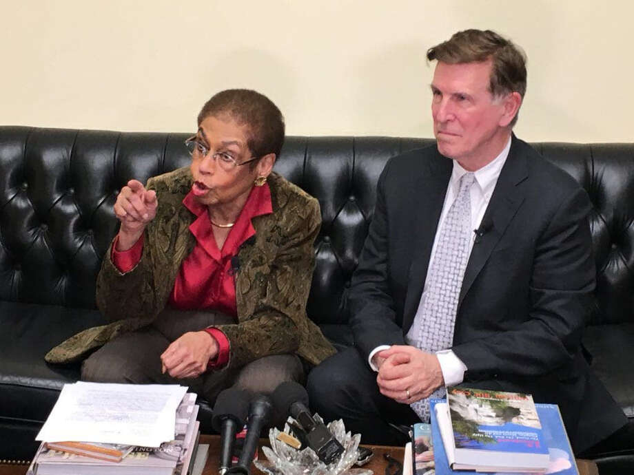 In 2018, Del. Eleanor Holmes Norton, D-D.C., and Rep. Don Beyer, D-Va., discuss their proposed legislation to require federal uniformed officers to wear body cameras and to put cameras in federal patrol vehicles. Photo: Washington Post Photo By Tom Jackman. / The Washington Post