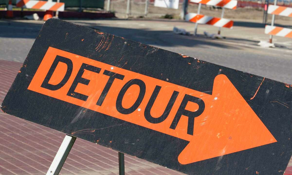 Detour and road closed signs are seen at the intersection of Avenue of the Palms and California Avenue on Friday, December 7, 2018 on Treasure Island in San Francisco, Calif.