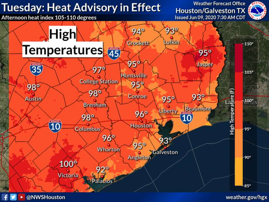 Highs in the 90s are expected in Houston on Tuesday, June 9, 2020. Photo: National Weather Service