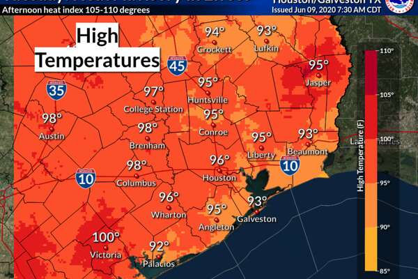 Highs in the 90s are expected in Houston on Tuesday, June 9, 2020.