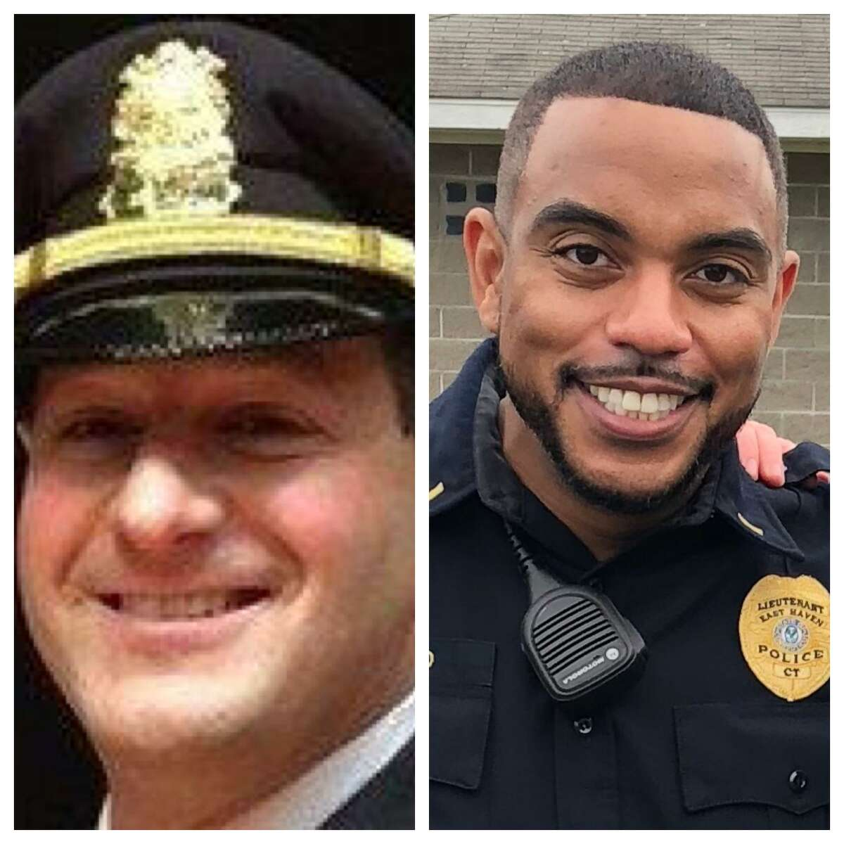 Soon-to-be captains David Emerman, left, and Joseph Murgo, right, of the East Haven Police Department