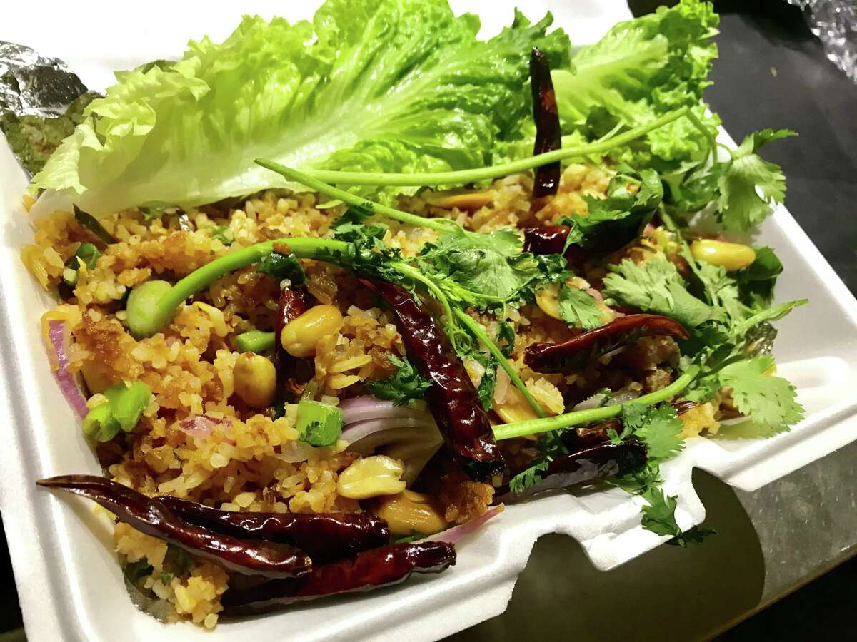 Kao Nam Tod (crispy rice with peanuts, ginger and minced sour sausage) from Asia Market Thai Lao Food