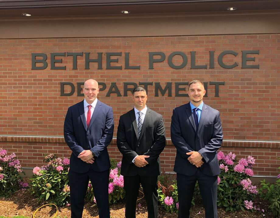 The Bethel Police Department's three newest officers, from left: Gavin Lavallee, Michael Perrone and Gary Sorrentino. Photo: Contributed Photo / Bethel Police Department
