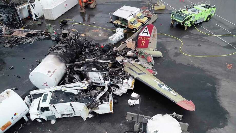 In this Oct. 3, 2019, file image taken from video released by the National Transportation Safety Board, the wreckage of a World War II-era B-17 bomber plane that crashed Oct. 2, 2019, remains on the tarmac at Bradley International Airport in Windsor Locks. The plane crashed and burned after experiencing mechanical trouble on takeoff. Photo: Associated Press / National Transportation Safety Board