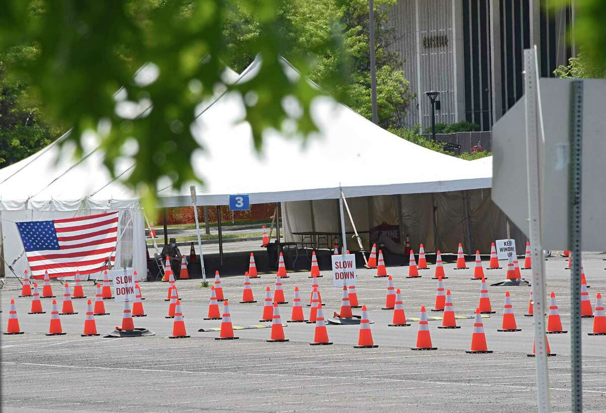 The COVID-19 testing site at UAlbany shows no lines on Tuesday, June 9, 2020 in Albany, N.Y. (Lori Van Buren/Times Union)