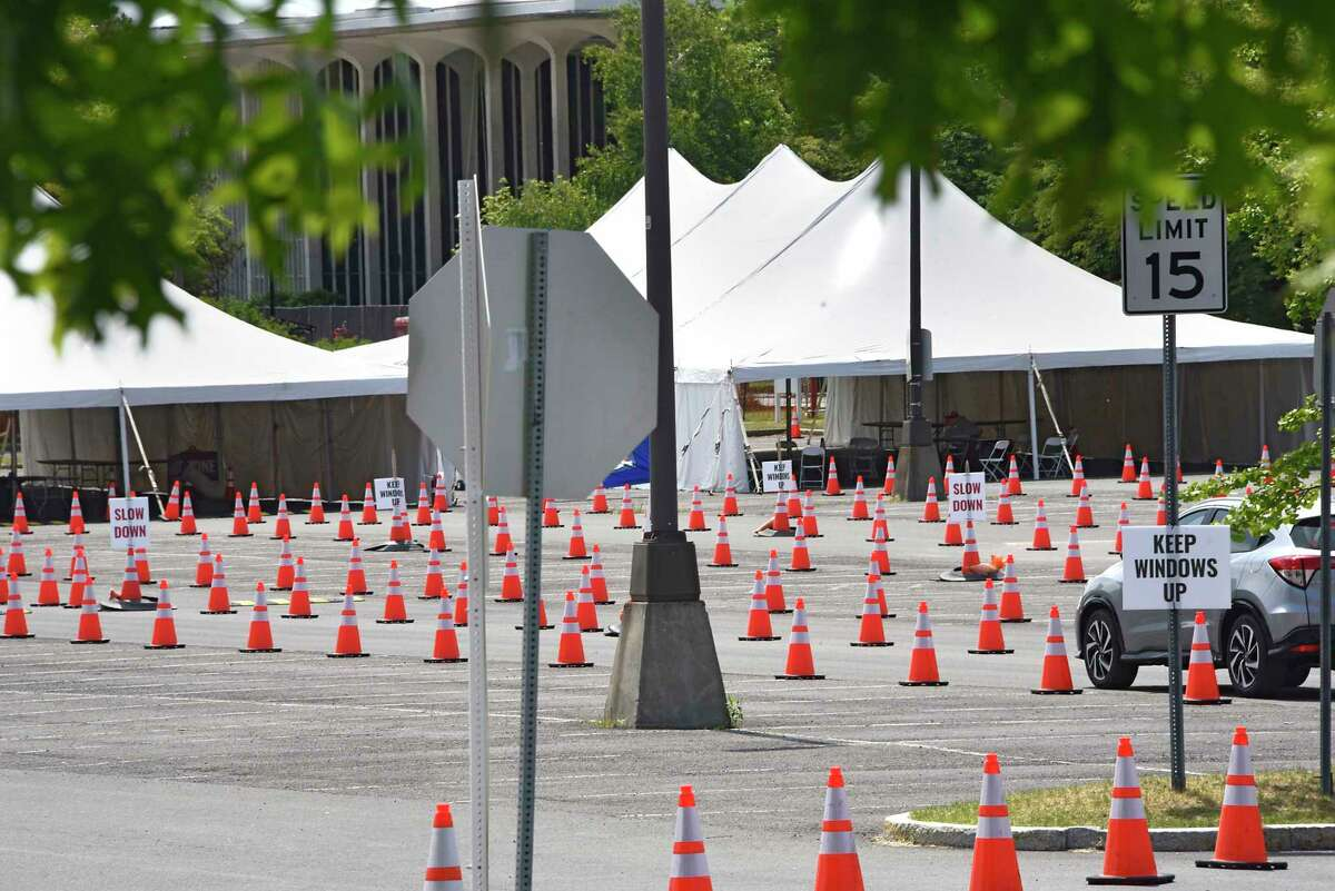 A car enters the COVID-19 testing site at UAlbany on Tuesday, June 9, 2020 in Albany, N.Y. There were no lines at the site. (Lori Van Buren/Times Union)