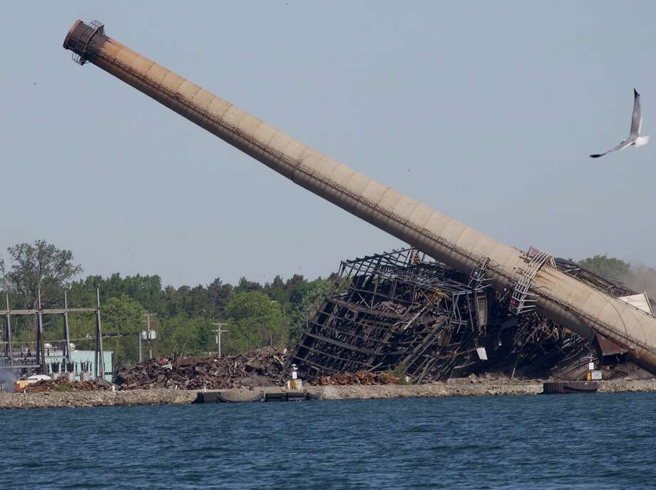 The Harbor Beach Power Plant is demolished June 9 near the marina. Photo: Aurora Abraham/Huron Daily Tribune