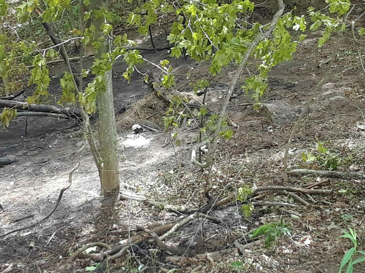 Two 16-year-old youths were killed and three other teenagers injured in a crash on Town Farm Road in Litchfield early Tuesday, according to police. This is where the car ended up, on fire, after going down an embankment.